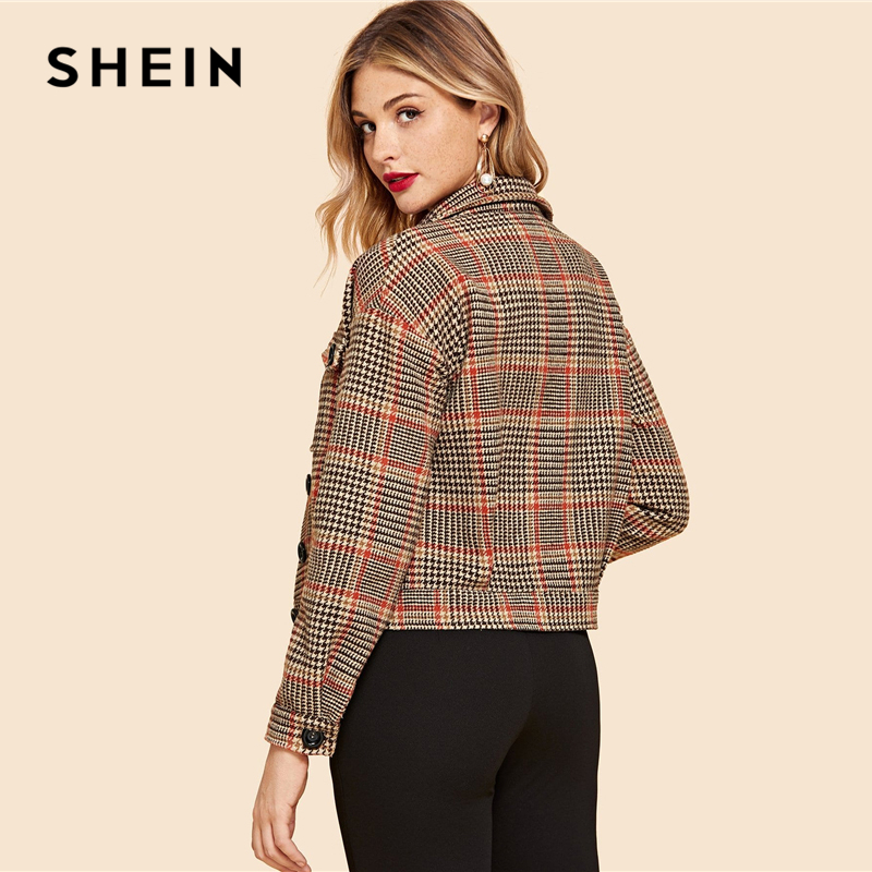 SHEIN Multicolor Flap Pocket Front Houndstooth Utility Jacket Women Crop Spring Coat Buttoned Long Sleeve Casual Jackets 2