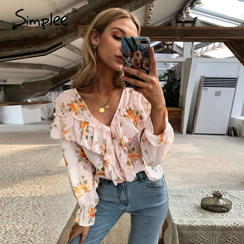 Simplee Vintage Florl Print V Neck Ruffle Women Blouse Shirt Sexy Pink Long Sleeve Blouse Shirts Holiday Casual Femme Blusas
