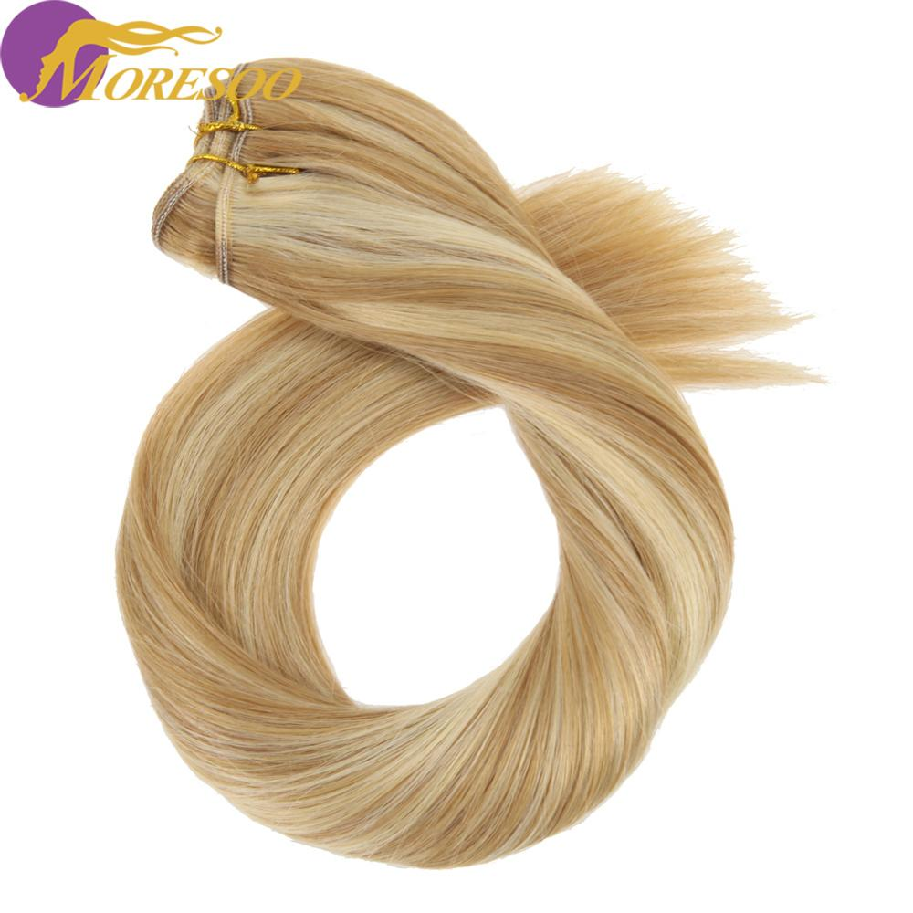 Moresoo Hair Weft Machine Remy Human Hair Natural Straight Hair Weaving/Weft 100g Per Bundle Human Hair Extensions