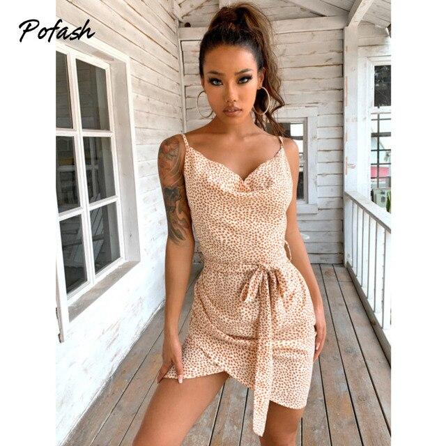 Pofash Spaghetti Strap Summer Dresses Women V Neck Backless Sexy Wrap Bow Bodycon Dress Polka Dot Sleeveless Mini Vestidos 2021 1