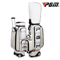 Pgm Retractable Golf Bag with Wheel Pu Waterproof Golf Standard Ball Packages Large Capacity Travel Golf Bags Golf Cart Club Bag