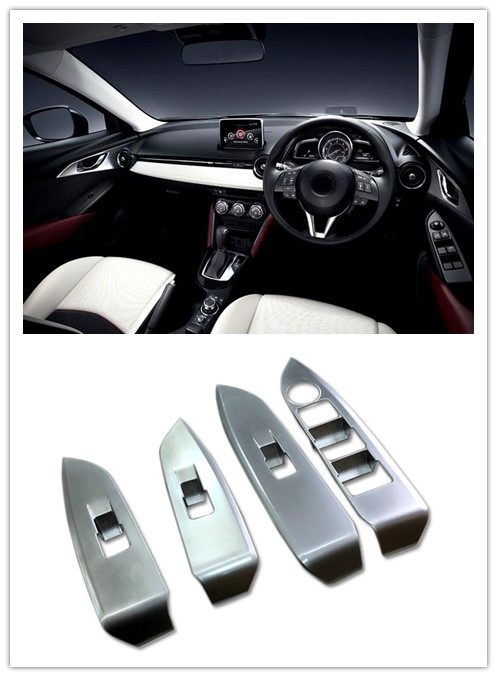 Matte Interior Car Steering Wheel Button Cover Trim for Mazda CX-3 CX3 2015-2018