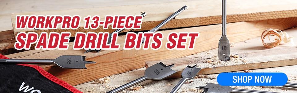 WORKPRO 13-Piece Spade Drill Bit Set