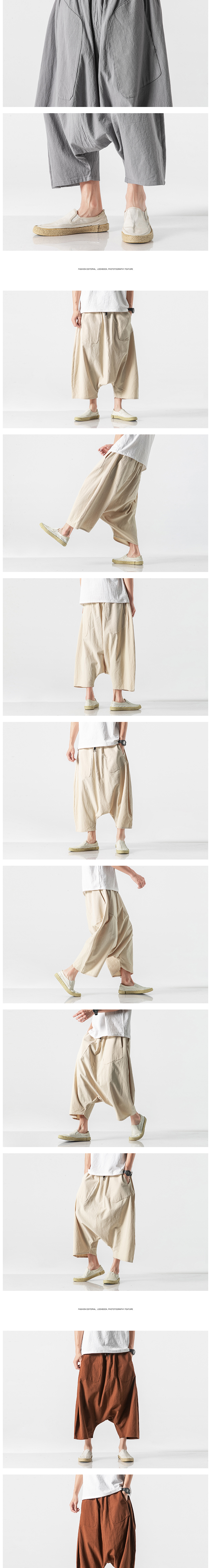 Sinicism Store Men Solid Summer Cross Pants Mens 2020 Japanese Wide Leg Trousers Male Linen Chinese Style Pants Clothing 5XL 29