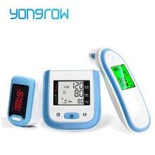 Yongrow LED אצבע דופק Oximeter & יד LCD לחץ דם צג & תינוק אוזן אינפרא אדום מדחום משפחת בריאות מתנה