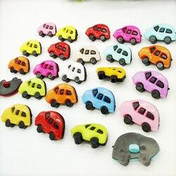 HL  50Pcs 24*15mm Mix Color Cute Car Plastic combined Buttons Apparel Supplies Sewing Accessories DIY Crafts