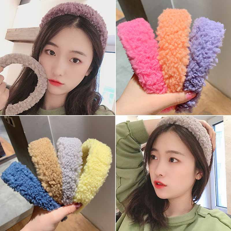 Womens Candy Color Plush Lamb Wide Hairband Sweet Headband Hair Hoop Headwear For Girls Hair Bezel Ins Fashion Hair Accessories