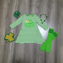St. Patricks Day girls baby children clothes cotton stripe ruffles Shamrocks dress knee length match purse socks necklace & bow
