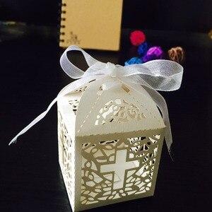 Image 3 - 50 sztuk/partia DIY skrzyżowanie pudełka cukierków anioł pudełko na Baby Shower chrzest urodziny pierwsza komunia chrzciny wielkanocne dekoracje