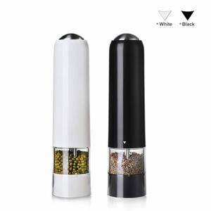Image 1 - 2 個自動塩グラインダー電気コショウミルスパイスグラインダーセットledライトバッテリーのキッチン研削ツール黒/白