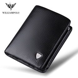 Luxury Brand TIME LIMITED SELL WilliamPOLO  Italian Genuine Leather 3 fold Card Holders Short Coin Purse PL138
