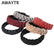 AWAYTR New Solid Color Velvet Braid Headband for Women Autumn Winter Hair Loop Ladies Retro Headwear Bezel Accessories