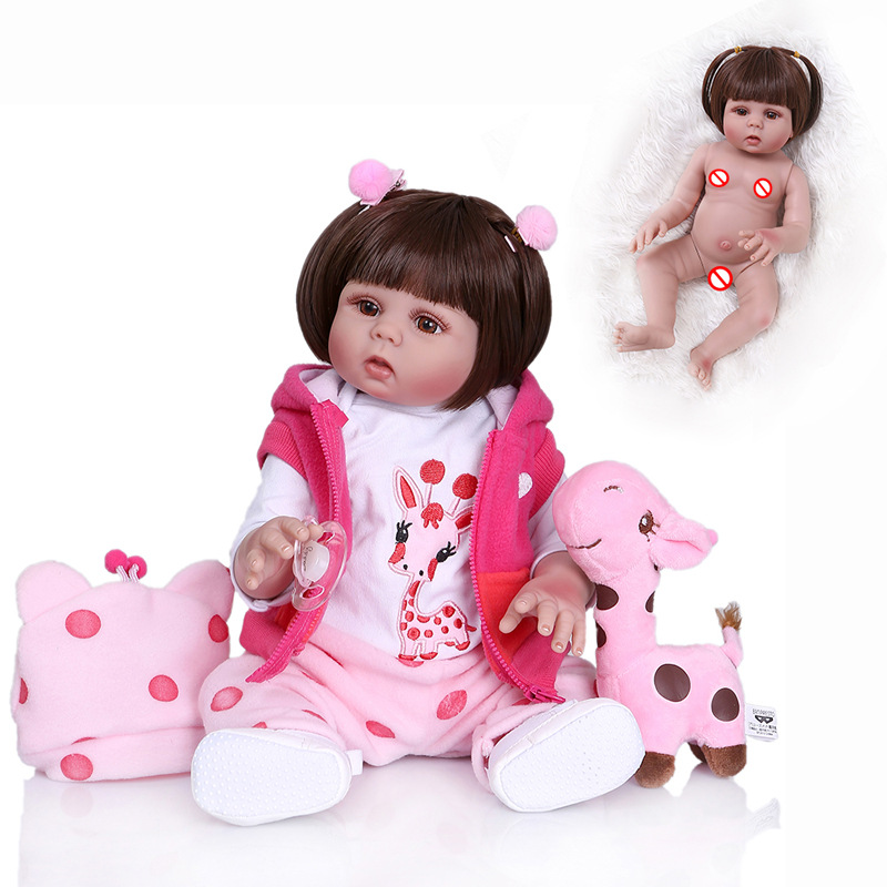 Original NPK 48CM Model Curly Hair Bebe Doll Reborn Toddler Girl Doll Full Body Soft Silicone Realistic Baby Bath Toy Waterproof