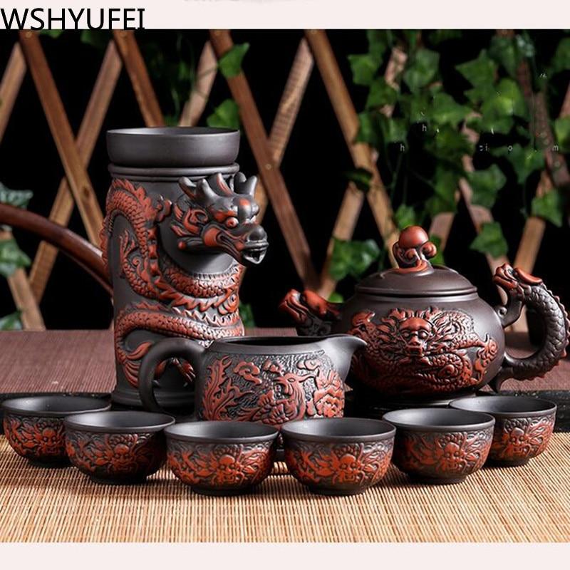 10pcs\lot Yixing Teapot Zisha Tea Set Tea Set Tea Set Handmade Kettle Purple Clay Drinkware Suit Tieguanyin Travel Tea Set