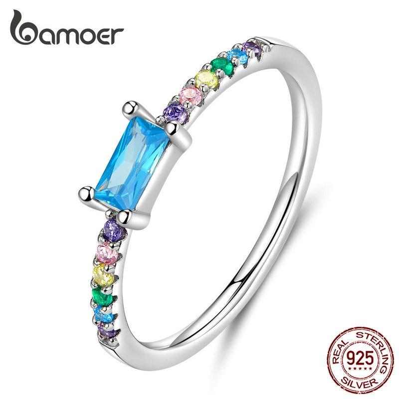 Bamoer Statement Finger Rings Cubic Zirconia Stone Wedding Engagement Silver 925 Jewelry Bijoux SCR590