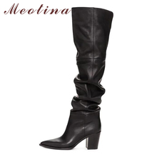 Meotina Winter Over the Knee Boots Women Natural Genuine Leather Thick High Heel Thigh High Boots Pleated Long Shoes Ladies Fall