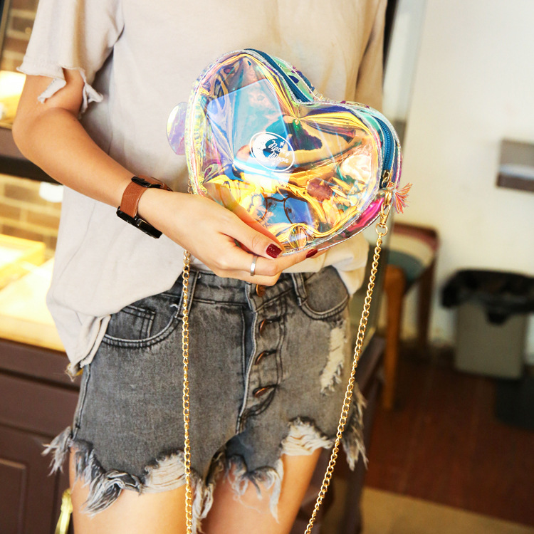New 2019 Fashion Women Handbags Laser Clear Transparent Tote Heart Romantic Handbag Purse Lady Shoulder Bag Crossbody Bag Sac