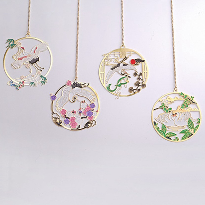 Drunk Hibiscus Creative Antique Brass Color Fan Pendant Metal Bookmark Aesthetic Chinese Style Student Gifts