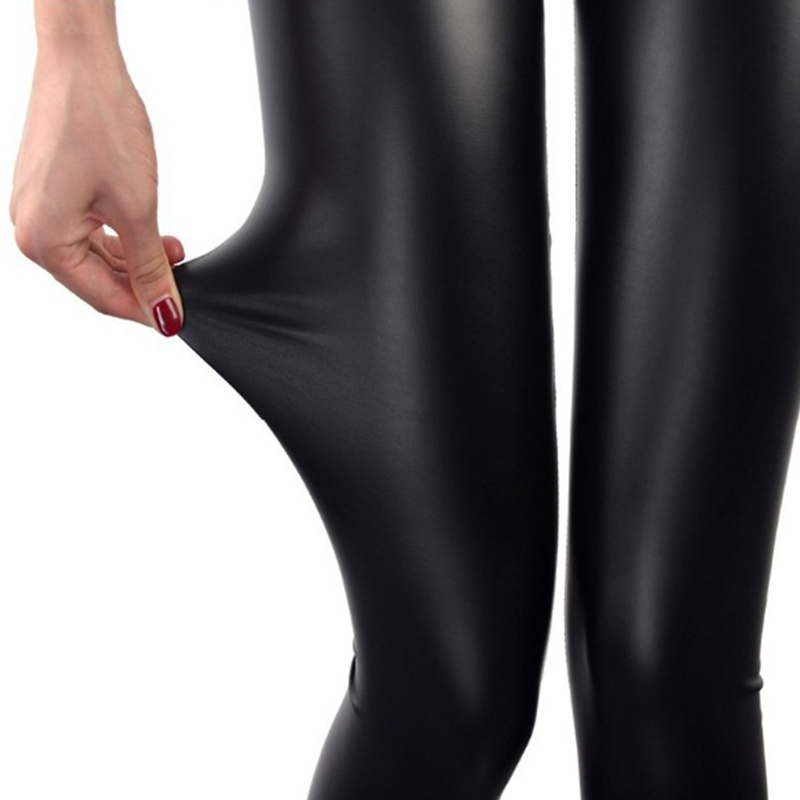 Black Leggings Faux-Leather Plus-Size 4XL Thin Sexy Stretchy Autumn New Calzas Mujer