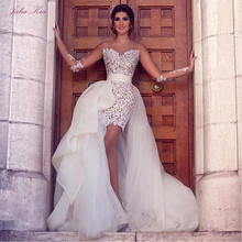 줄리아 쿠이 우아한 레이스 2 1 인어 웨딩 드레스 비치 분리형 치마 긴 소매 신부 드레스