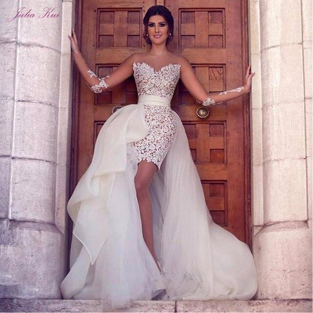 Julia Kui Elegant Lace Of 2 In 1 Mermaid Wedding Dresses Beach With Detachable Skirt Long Sleeve Bride Dress