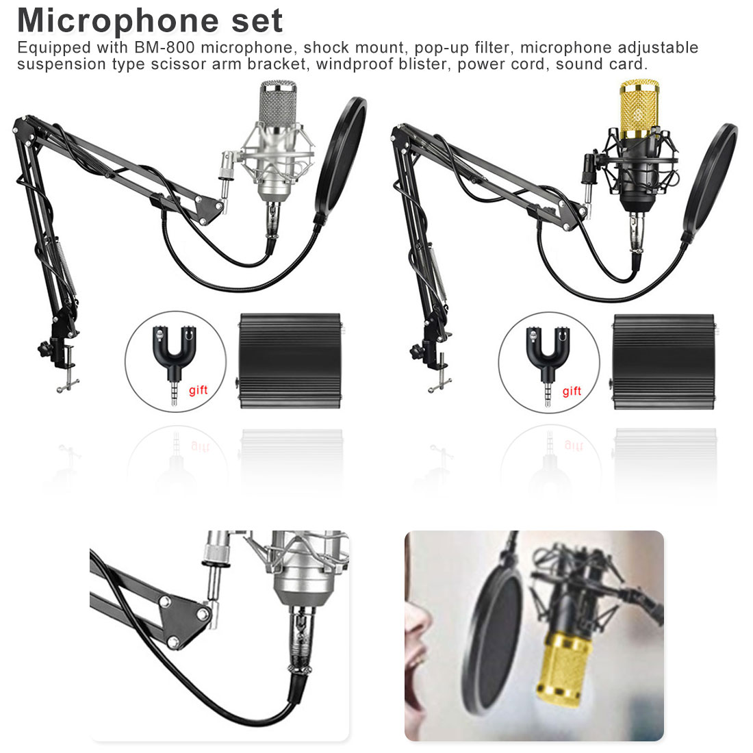 Recording karaoke with Phantom Power BM800 Professional Condenser Microphone set for Computer Audio Studio Vocal