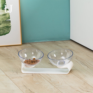 Image 4 - يوبين جوردان وجودي PE001 كلب القط الحيوانات الأليفة وعاء مزدوج شفاف إمالة تصميم مادة صحية من يوبين