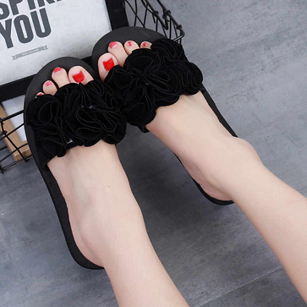 Yaz kadın ayakkabı kadın çiçek yaz sandalet terlik kapalı açık Flip-flop plaj ayakkabısı bayanlar platformu terlik