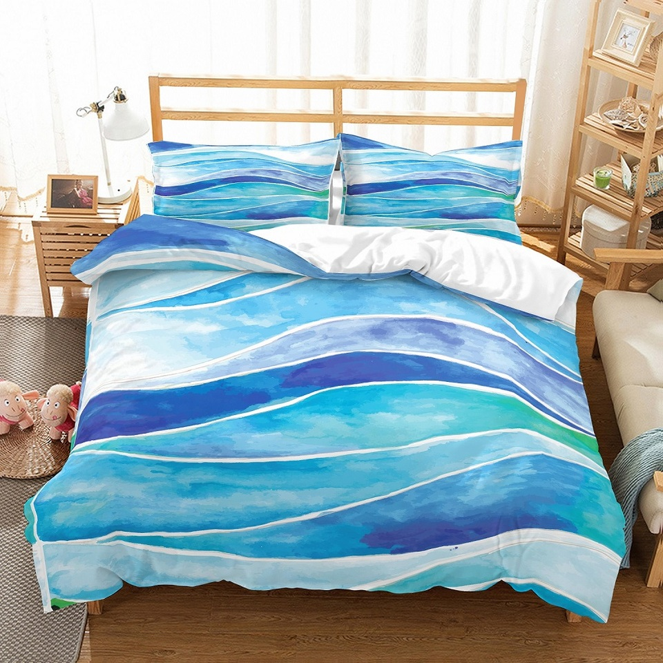 Abstract Wave Blue White Duvet Cover Set Summer Ocean Beach Bed Linen Set With Pillowcase Single Double Full Queen King For Home Bedding Sets Aliexpress