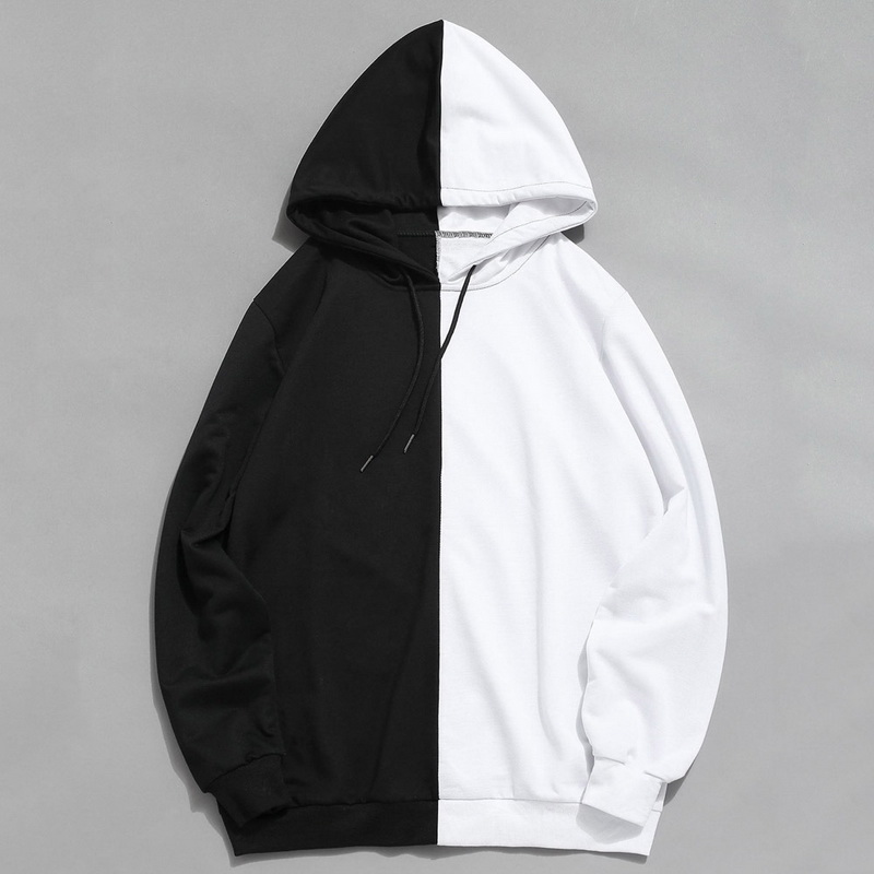 Long Sleeve Men's Hoodies Hood Half Black Half White Cool Plain Hoddies Men Patchwork Cotton Sweatshirt Male Hoody Fashion Women