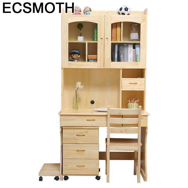 Office Escritorio Mueble Stand Tafel Para Notebook Bed Desk Shabby Chic Wooden Computer Mesa Laptop Tablo Table With Bookshelf