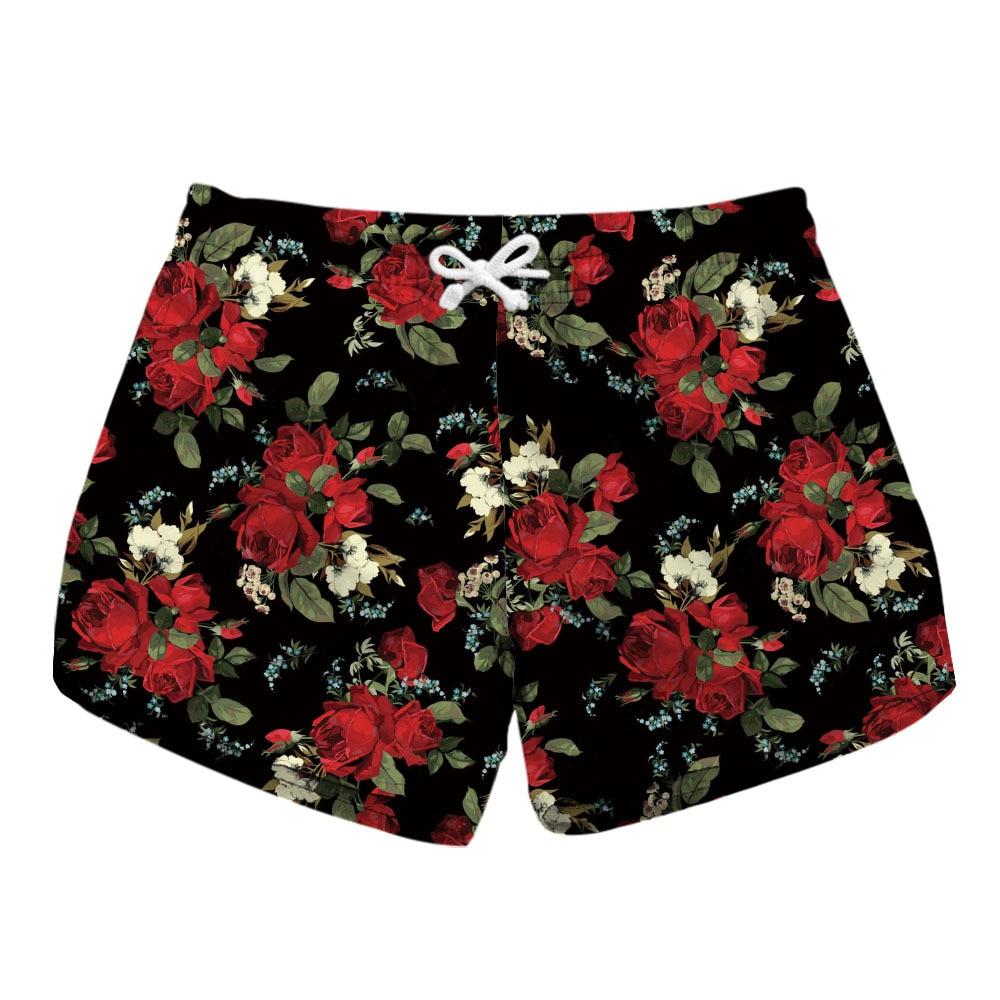 Digital Printed Ladies Quick-drying Shorts Rose Printed Side Pocket Casual Shorts