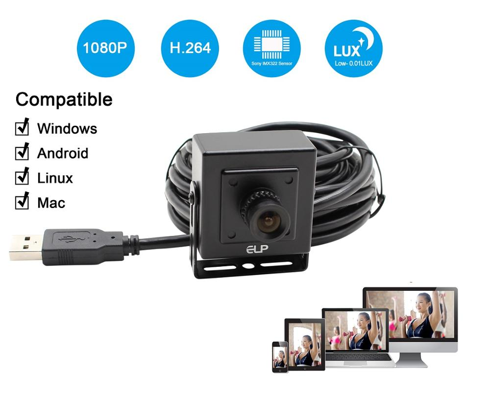 Sony IMX322-caméra Webcam 2 mp   Écran FUll HD 1080P, faible luminosité, OTG UVC H264/MJPEG, 30fps, Mini caméra Webcam Usb, Android avec micro Audio, pour PC portable