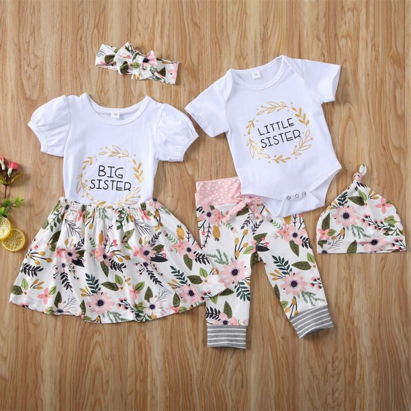 Family Looking Set Big/Little Sister Matching Baby Girl Tops Romper Dress Pants Clothes Family Matching Outfits