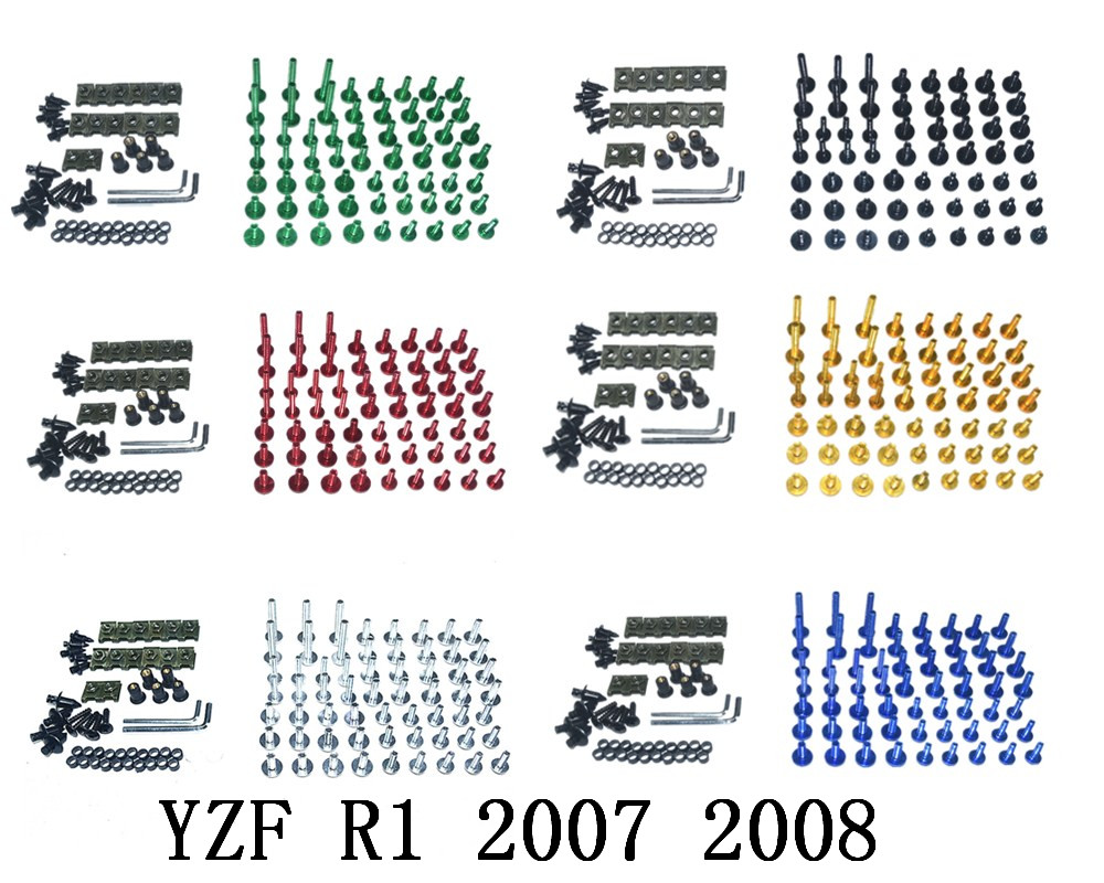 Motorcycle Complete <font><b>Fairing</b></font> Bolts Kit Bodywork Screws For Fit <font><b>YAMAHA</b></font> YZF <font><b>R1</b></font> 2007 <font><b>2008</b></font> image