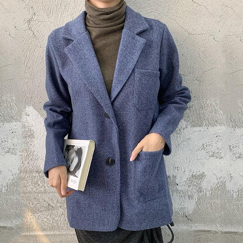 HziriP 2020 Feminine Women Woolen High Street All Match Office Lady Slender Thin Vintage Casual Elegant Loose Coat Blazers