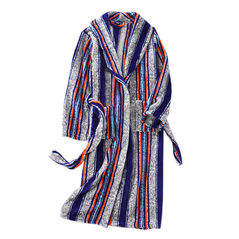 ZDFURS*Winter  Warm Flannel Couples Kimono Robes Fashion Striped Long Sleeve Casual Kimono Japanese Bathrobes Women