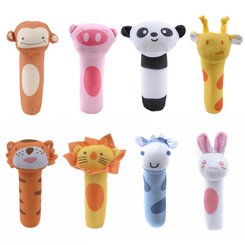 1pcs Baby <font><b>Toy</b></font> Animal Hand Bells Plush Baby Rattle <font><b>Toys</b></font> High Quality <font><b>New</b></font> <font><b>Born</b></font> Gift Cartoon Animal Plush Musical Handbell <font><b>Toys</b></font> image