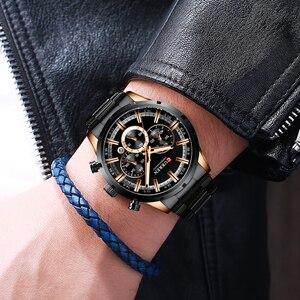 Image 5 - Luxus Marke CURREN Sportliche Uhr Herren Quarz Chronograph Armbanduhren mit Leucht hände 8355 Mode Edelstahl Uhr