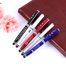 500pcs/lot 4 in1 Power Point Red Laser Pointer Teaching Tool LED Light Ballpoint Pen Stylus For iPhone Ipad 1 2 Samsung Portable