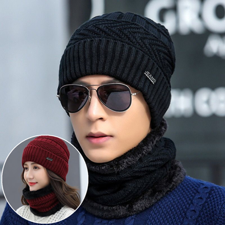 Wool Knitting Thickened In Autumn And Winter Hat And Scarf Set Windproof Protective Ear Warm Cover Neck Men Cap