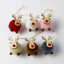 Cute Cloth Plush Deer Pendant Christmas Tree Decor Hanging Ornaments Christmas Decoration Xmas 2021 New Year Xmas Party Decor