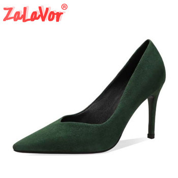 ZALAVOR Women High Heels Shoes Real Leather Office Ladies Pumps Sexy Pointed Toe Dance Party Wedding Footwear Size 34-39
