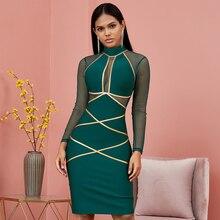 Primavera verde manga longa bodycon bandage vestido feminino sexy oco para fora vestidos de malha outono celebridade noite runway vestidos de festa