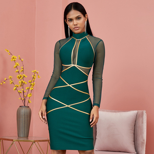Image 1 - Spring Green Long Sleeve Bodycon Bandage Dress Women Sexy Hollow Out Mesh Dresses Autumn Celebrity Evening Runway Party Vestidos