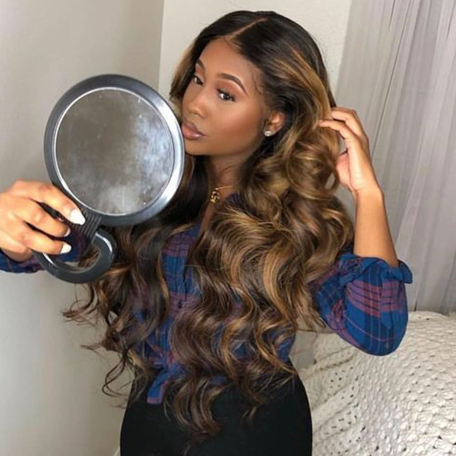 13x4 Colored Human Hair Wig Brown And Honey Blonde Highlighted Wig Body Wave Peruvian Remy Preplucked Ombre Brown Lace Front Wig