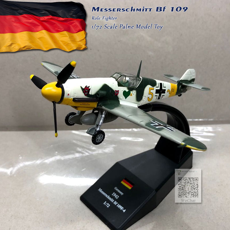 WLTK 1/72 Scale World War II German <font><b>Bf</b></font>-109 Me-109 Fighter Diecast Metal Military Plane Model Toy For Collection,Gift,Kids image
