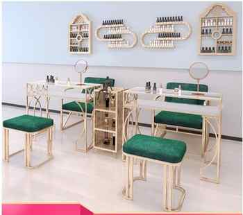 Nordic Manicure Table and Chair Set online celebrity Marble Manicure Table Iron Art Single Double Three Economy