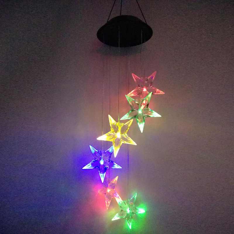 Holiday Wedding Wind Chime Light Solar Powered Hanging String Lights Garden Party Christmas Color Change Decorative Star Lights