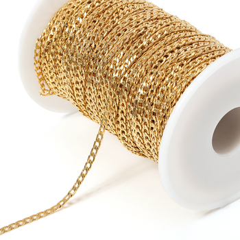 2meters Stainless Steel Gold Tone Curb Link Chain 3mm Width Bulk Jewelry Chains For DIY Handmade Necklace Bracelet Making цена 2017